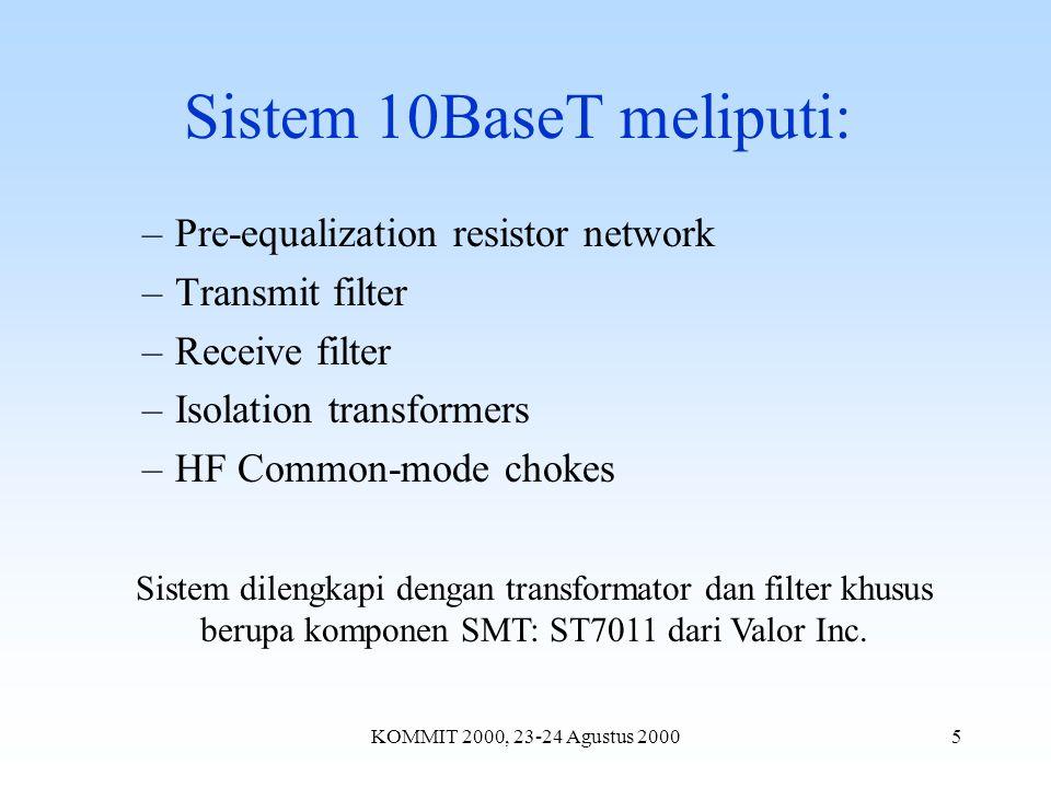 KOMMIT 2000, 23-24 Agustus 20005 Sistem 10BaseT meliputi: –Pre-equalization resistor network –Transmit filter –Receive filter –Isolation transformers –HF Common-mode chokes Sistem dilengkapi dengan transformator dan filter khusus berupa komponen SMT: ST7011 dari Valor Inc.