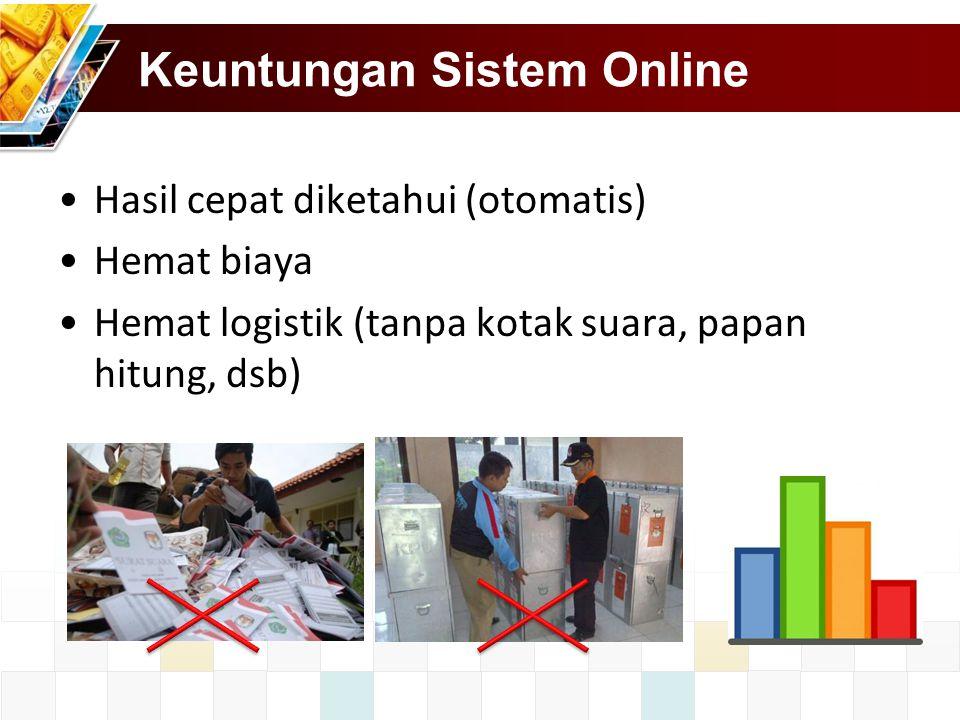 Keuntungan Sistem Online Hasil cepat diketahui (otomatis) Hemat biaya Hemat logistik (tanpa kotak suara, papan hitung, dsb)