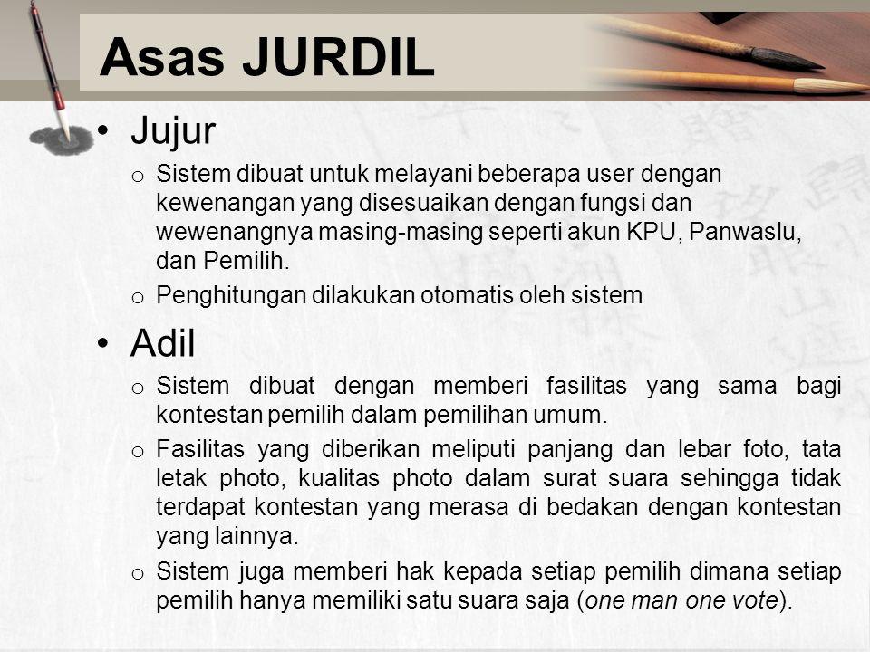Asas JURDIL Jujur o Sistem dibuat untuk melayani beberapa user dengan kewenangan yang disesuaikan dengan fungsi dan wewenangnya masing-masing seperti