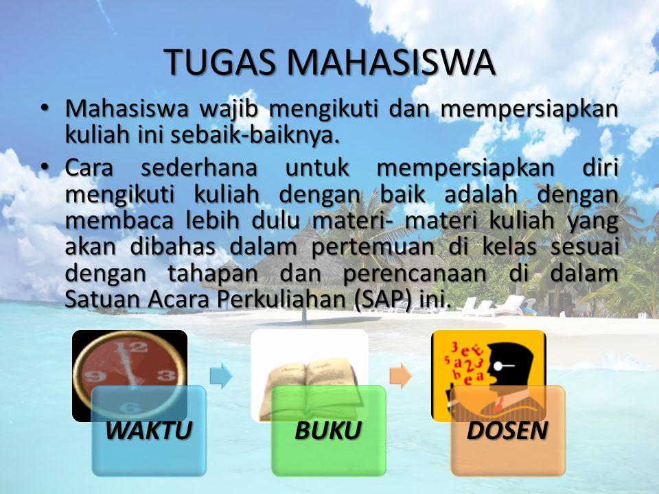 TUGAS MAHASISWA Mahasiswa wajib mengikuti dan mempersiapkan kuliah ini sebaik-baiknya. Mahasiswa wajib mengikuti dan mempersiapkan kuliah ini sebaik-b