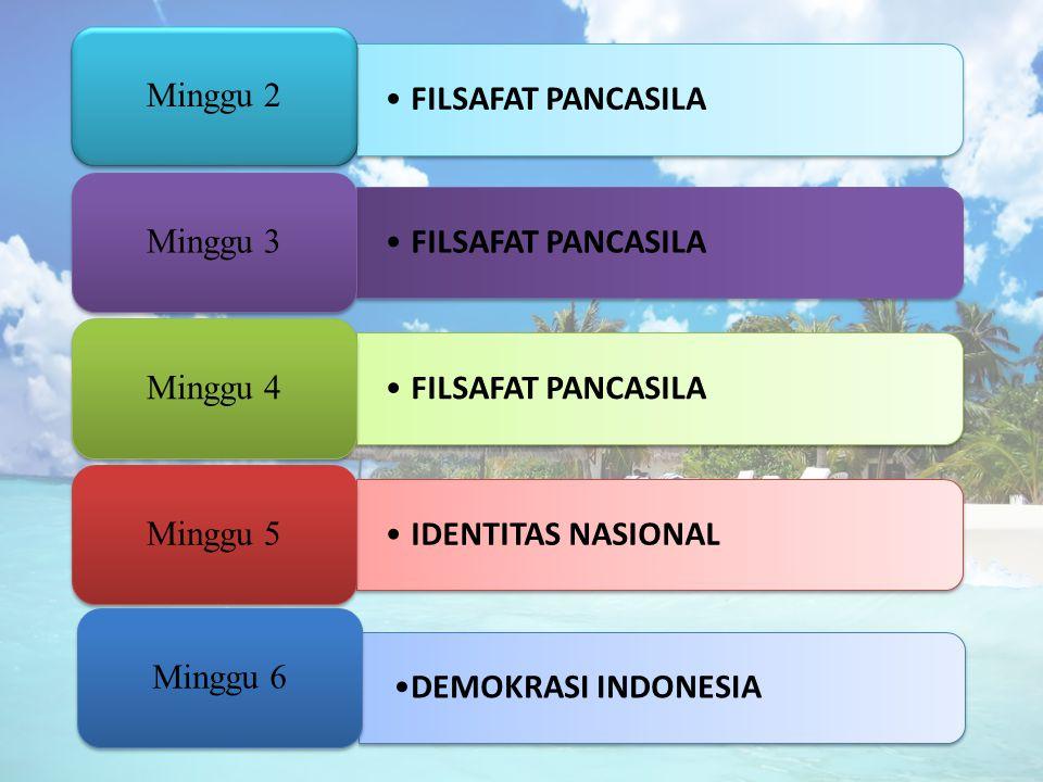 FILSAFAT PANCASILA Minggu 2 FILSAFAT PANCASILA Minggu 3 FILSAFAT PANCASILA Minggu 4 IDENTITAS NASIONAL Minggu 5 DEMOKRASI INDONESIA Minggu 6