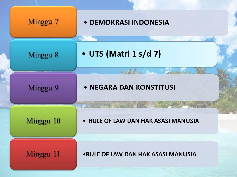 DEMOKRASI INDONESIA Minggu 7 UTS (Matri 1 s/d 7) Minggu 8 NEGARA DAN KONSTITUSI Minggu 9 RULE OF LAW DAN HAK ASASI MANUSIA Minggu 10 RULE OF LAW DAN H