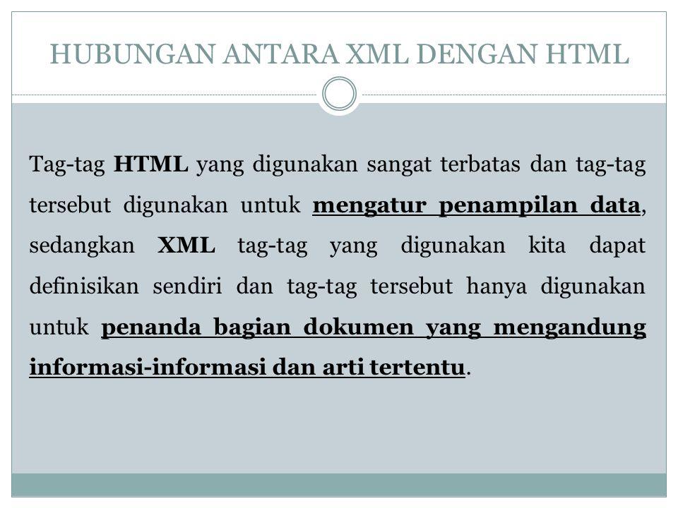 HUBUNGAN ANTARA XML DENGAN HTML Tag-tag HTML yang digunakan sangat terbatas dan tag-tag tersebut digunakan untuk mengatur penampilan data, sedangkan X