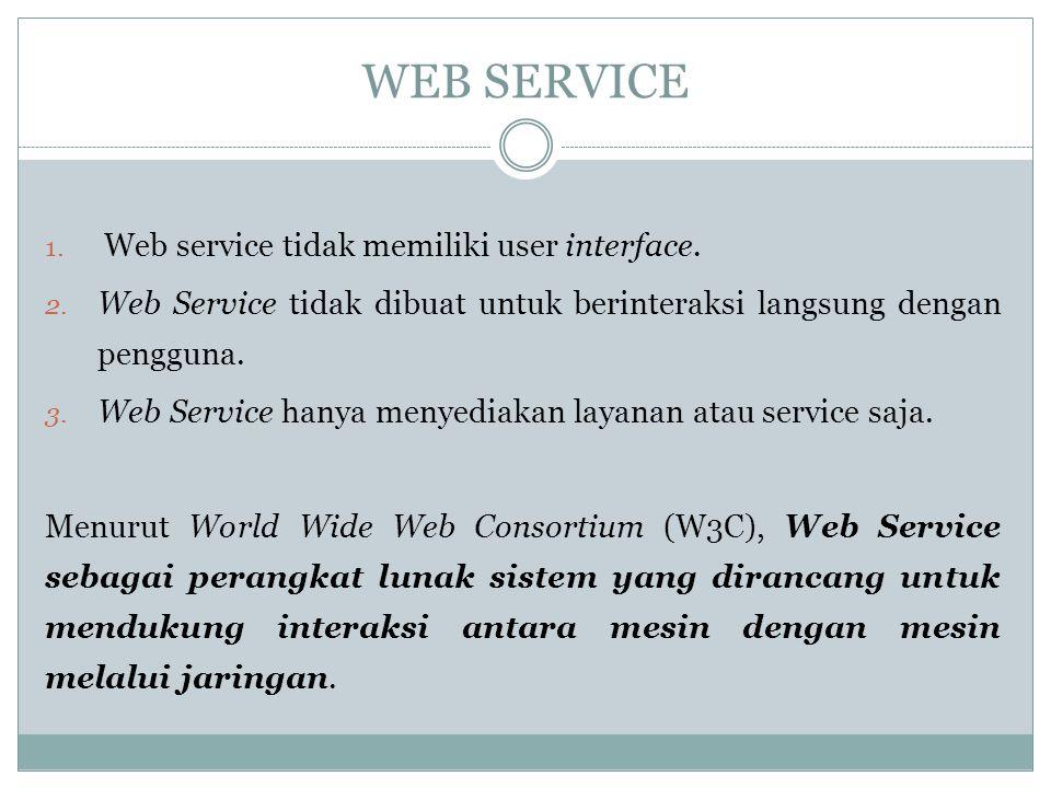 WEB SERVICE 1. Web service tidak memiliki user interface. 2. Web Service tidak dibuat untuk berinteraksi langsung dengan pengguna. 3. Web Service hany