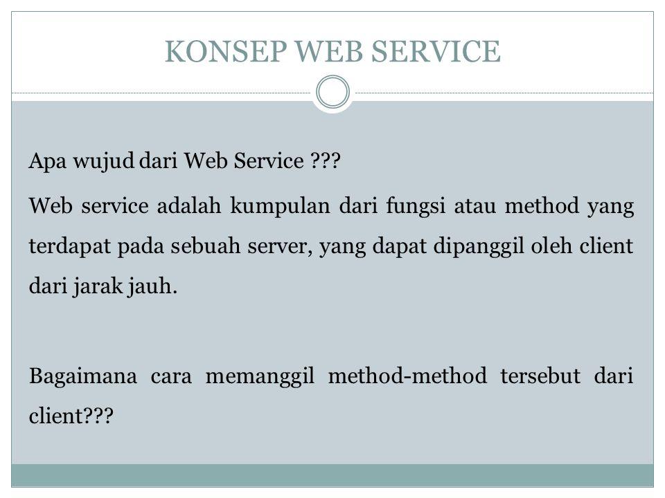 KONSEP WEB SERVICE Apa wujud dari Web Service ??? Web service adalah kumpulan dari fungsi atau method yang terdapat pada sebuah server, yang dapat dip