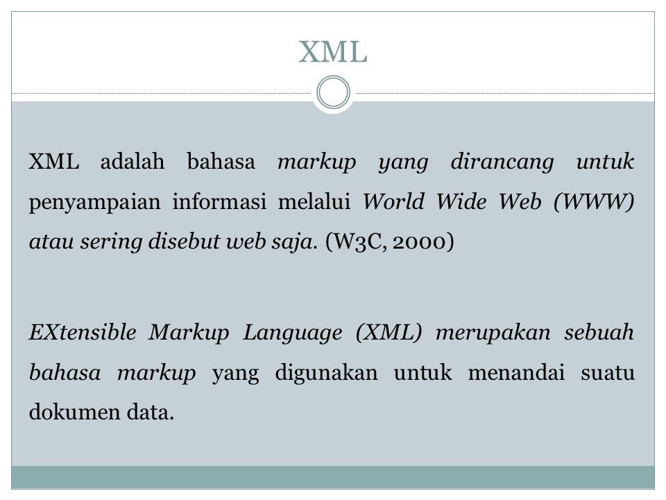 XML XML adalah bahasa markup yang dirancang untuk penyampaian informasi melalui World Wide Web (WWW) atau sering disebut web saja. (W3C, 2000) EXtensi