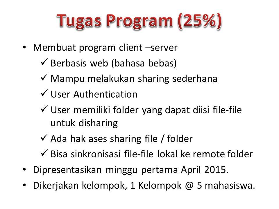 Membuat program client –server Berbasis web (bahasa bebas) Mampu melakukan sharing sederhana User Authentication User memiliki folder yang dapat diisi