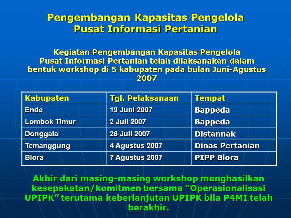 Pengembangan Kapasitas Pengelola Pusat Informasi Pertanian Akhir dari masing-masing workshop menghasilkan kesepakatan/komitmen bersama Operasionalisasi UPIPK terutama keberlanjutan UPIPK bila P4MI telah berakhir.