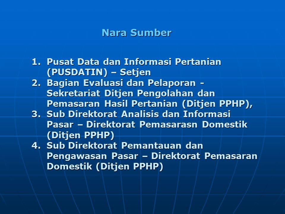 Nara Sumber 1.Pusat Data dan Informasi Pertanian (PUSDATIN) – Setjen 2.Bagian Evaluasi dan Pelaporan - Sekretariat Ditjen Pengolahan dan Pemasaran Hasil Pertanian (Ditjen PPHP), 3.Sub Direktorat Analisis dan Informasi Pasar – Direktorat Pemasarasn Domestik (Ditjen PPHP) 4.Sub Direktorat Pemantauan dan Pengawasan Pasar – Direktorat Pemasaran Domestik (Ditjen PPHP)