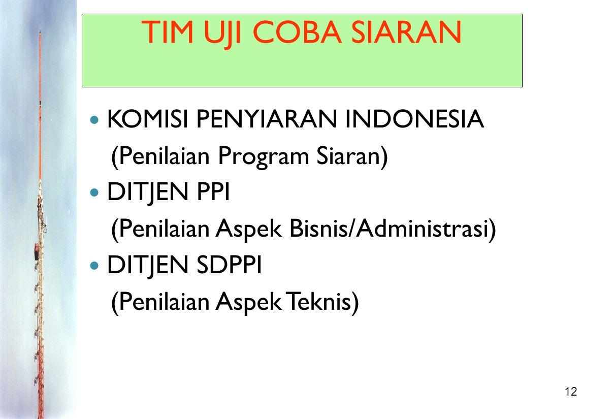 12 TIM UJI COBA SIARAN KOMISI PENYIARAN INDONESIA (Penilaian Program Siaran) DITJEN PPI (Penilaian Aspek Bisnis/Administrasi) DITJEN SDPPI (Penilaian