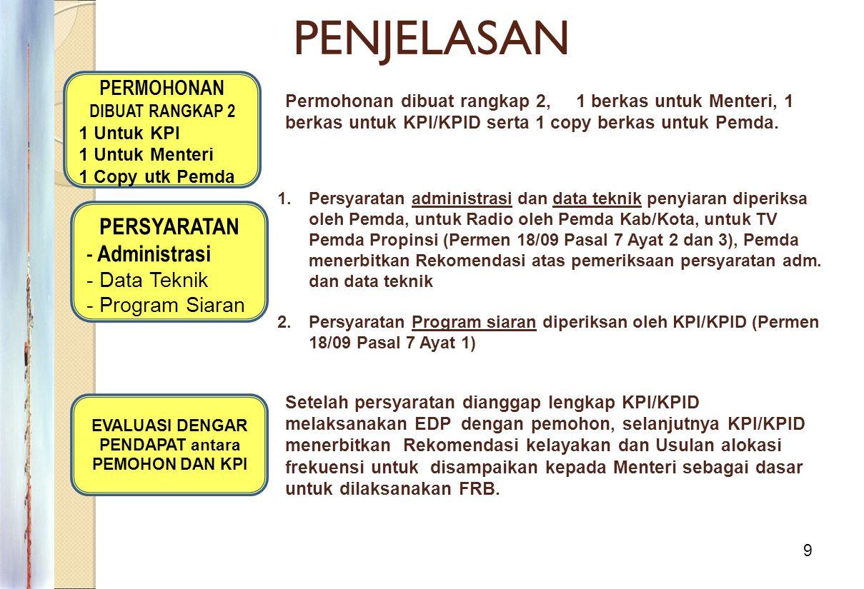 9 PENJELASAN PERMOHONAN DIBUAT RANGKAP 2 1 Untuk KPI 1 Untuk Menteri 1 Copy utk Pemda Permohonan dibuat rangkap 2, 1 berkas untuk Menteri, 1 berkas un