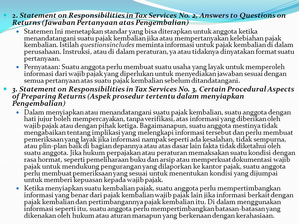 2.Statement on Responsibilities in Tax Services No.