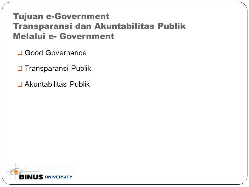  Good Governance  Transparansi Publik  Akuntabilitas Publik Tujuan e-Government Transparansi dan Akuntabilitas Publik Melalui e- Government