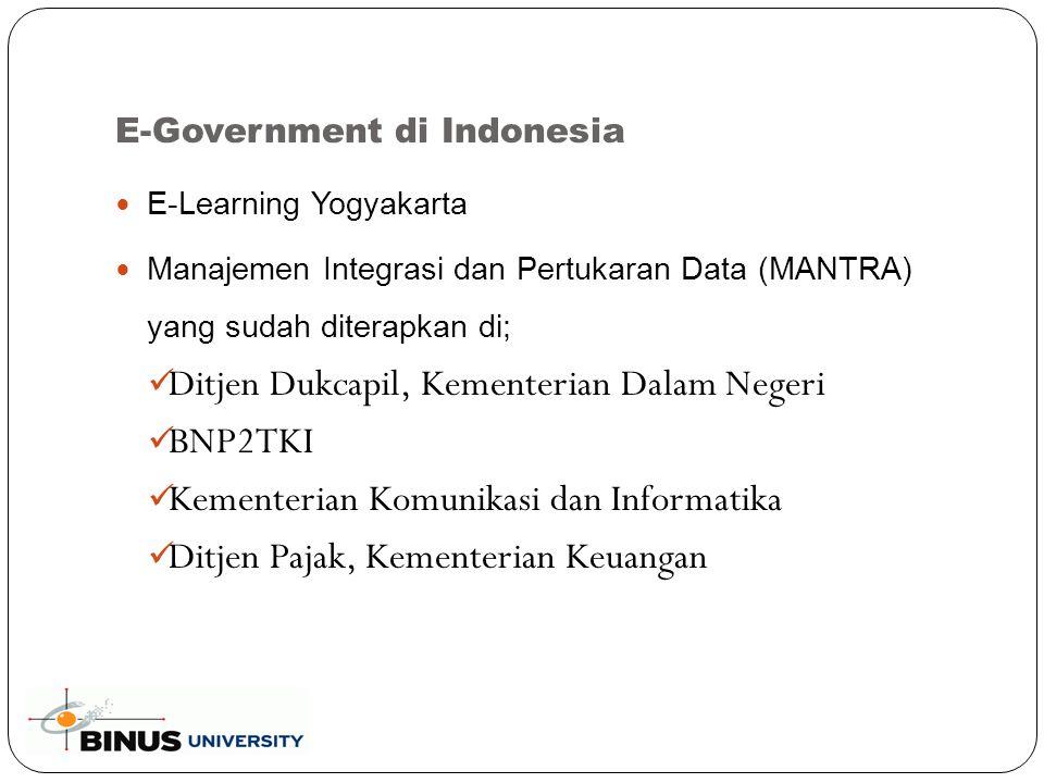 E-Government di Indonesia E-Learning Yogyakarta Manajemen Integrasi dan Pertukaran Data (MANTRA) yang sudah diterapkan di; Ditjen Dukcapil, Kementerian Dalam Negeri BNP2TKI Kementerian Komunikasi dan Informatika Ditjen Pajak, Kementerian Keuangan