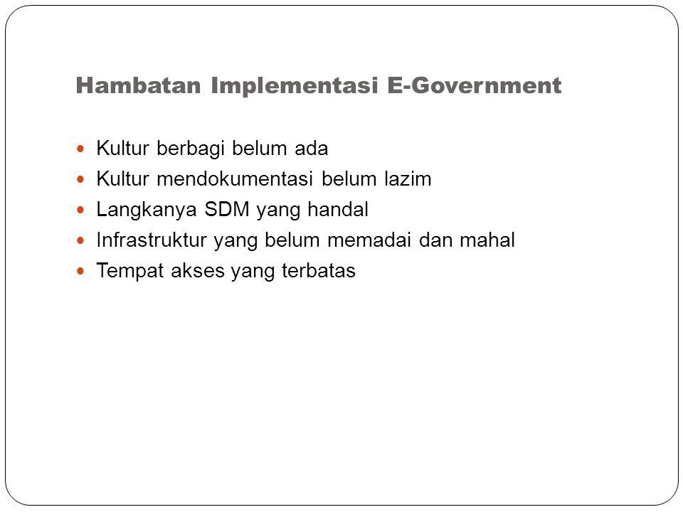 Hambatan Implementasi E-Government Kultur berbagi belum ada Kultur mendokumentasi belum lazim Langkanya SDM yang handal Infrastruktur yang belum memadai dan mahal Tempat akses yang terbatas