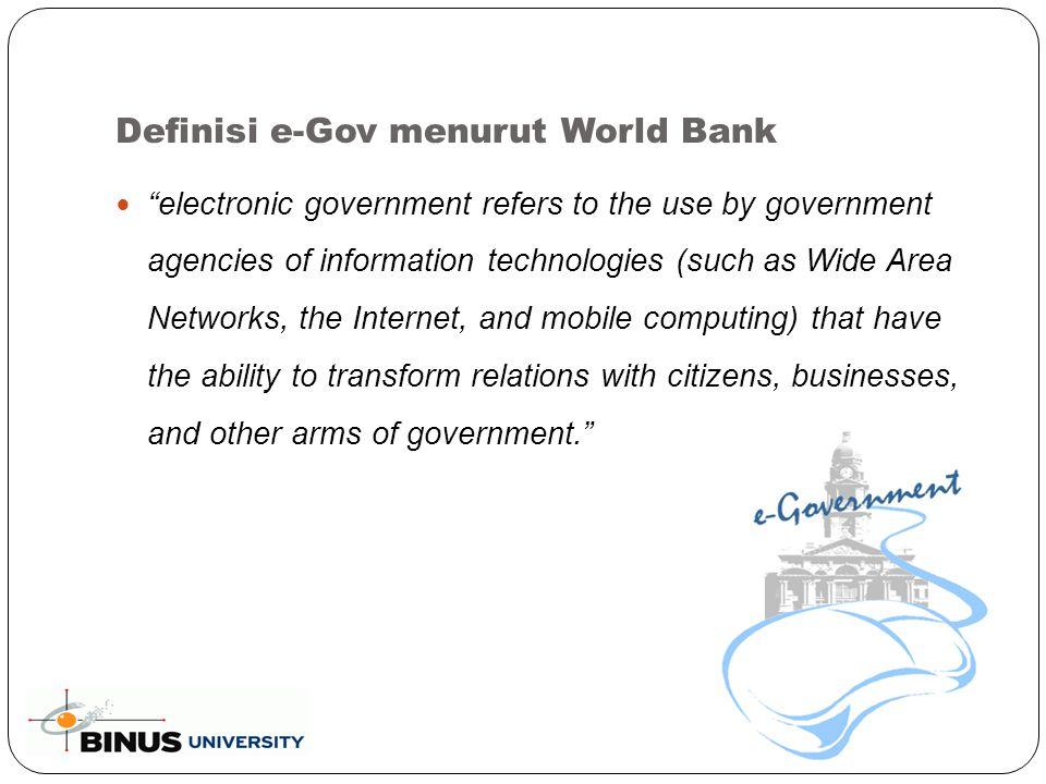 Tingkat Pelaksanaan E-Government (Continued..) Tingkat 4 – Pemanfaatan  Pembuatan aplikasi untuk pelayanan yang bersifat G2G, G2B dan G2C yang terintegrasi.