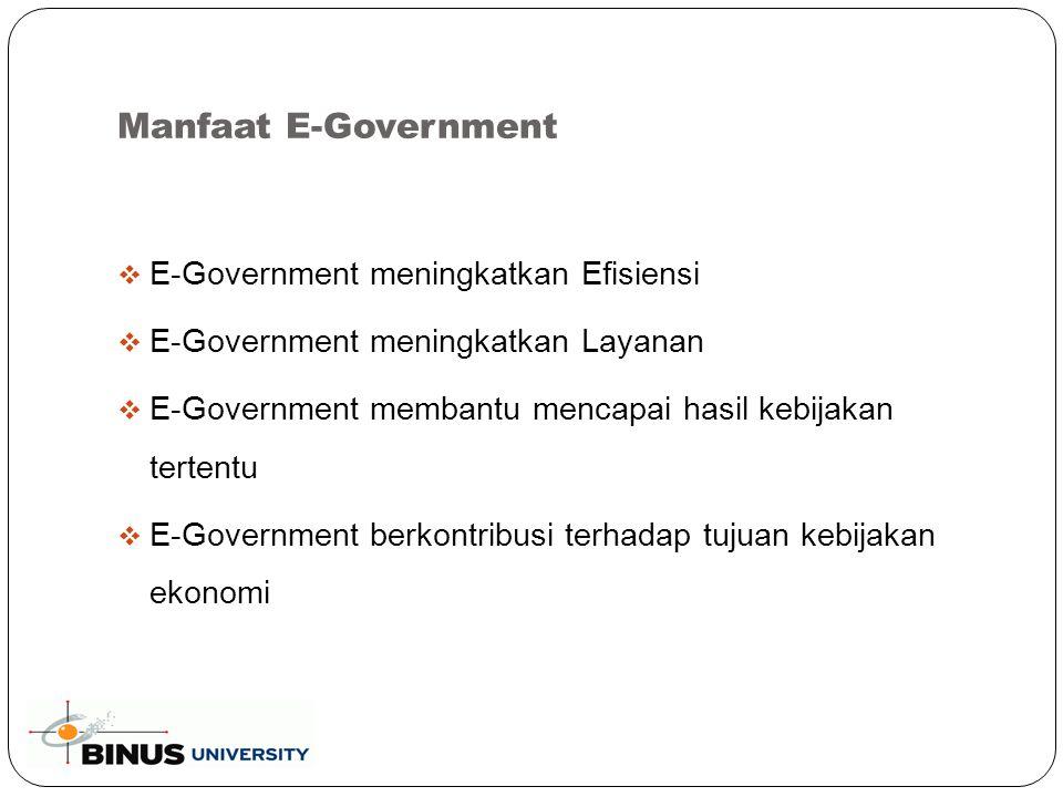 Manfaat E-Government (Continued..)  E-Government adalah kontributor reformasi utama  E-Government membantu membangun kepercayaan antara Pemerintah dan warganya  E-Government meningkatkan transparansi dan tanggung jawab