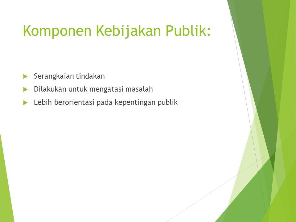 Komponen Kebijakan Publik:  Serangkaian tindakan  Dilakukan untuk mengatasi masalah  Lebih berorientasi pada kepentingan publik