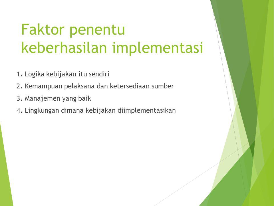 Faktor penentu keberhasilan implementasi 1. Logika kebijakan itu sendiri 2. Kemampuan pelaksana dan ketersediaan sumber 3. Manajemen yang baik 4. Ling