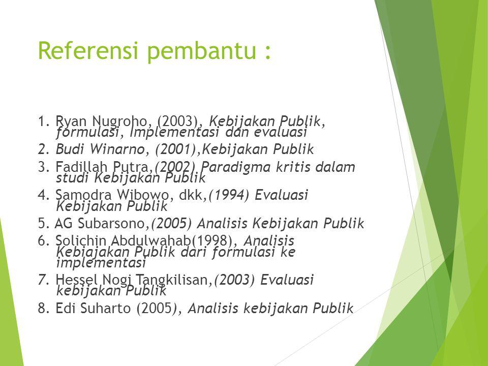 Referensi pembantu : 1. Ryan Nugroho, (2003), Kebijakan Publik, formulasi, Implementasi dan evaluasi 2. Budi Winarno, (2001),Kebijakan Publik 3. Fadil