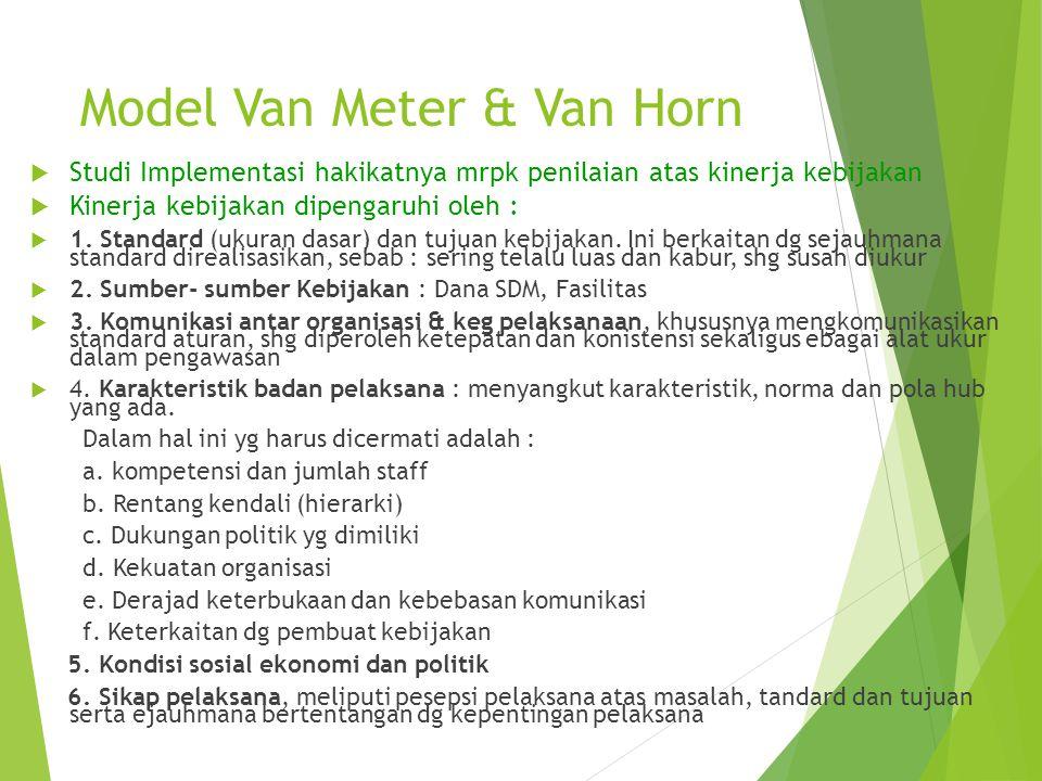 Model Van Meter & Van Horn  Studi Implementasi hakikatnya mrpk penilaian atas kinerja kebijakan  Kinerja kebijakan dipengaruhi oleh :  1. Standard