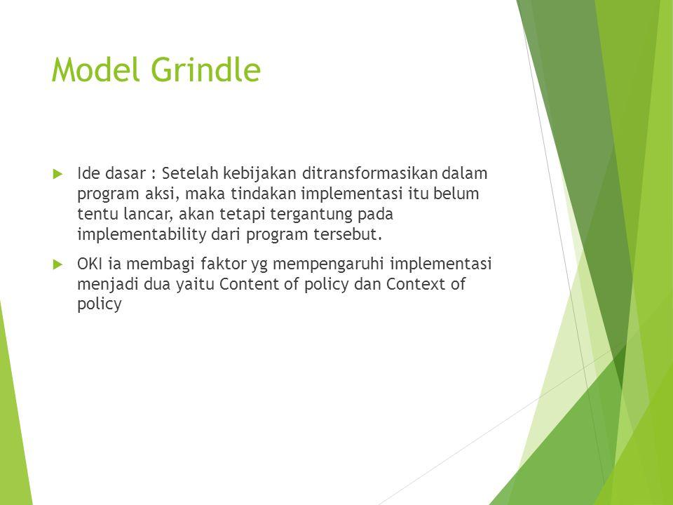 Model Grindle  Ide dasar : Setelah kebijakan ditransformasikan dalam program aksi, maka tindakan implementasi itu belum tentu lancar, akan tetapi ter