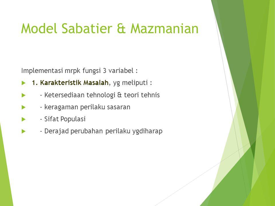 Model Sabatier & Mazmanian Implementasi mrpk fungsi 3 variabel :  1. Karakteristik Masalah, yg meliputi :  - Ketersediaan tehnologi & teori tehnis 