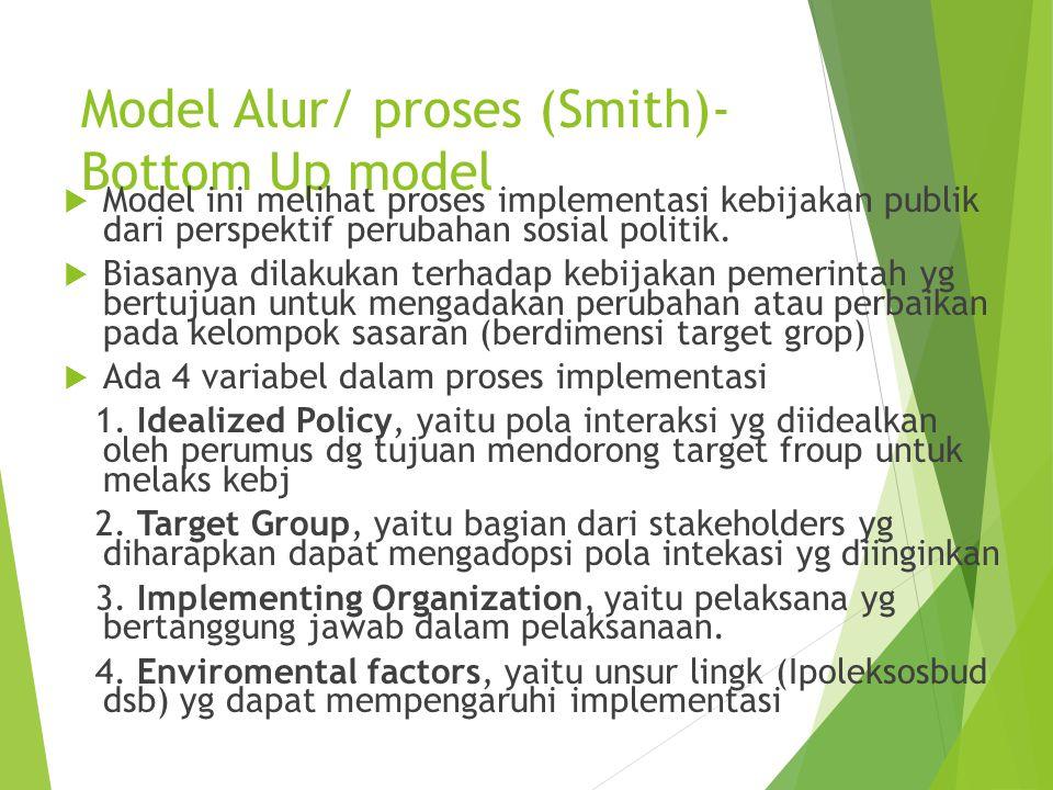 Model Alur/ proses (Smith)- Bottom Up model  Model ini melihat proses implementasi kebijakan publik dari perspektif perubahan sosial politik.  Biasa