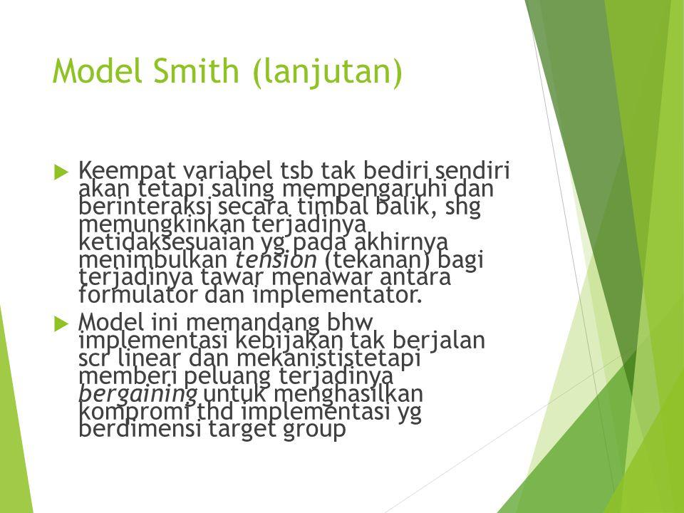 Model Smith (lanjutan)  Keempat variabel tsb tak bediri sendiri akan tetapi saling mempengaruhi dan berinteraksi secara timbal balik, shg memungkinka