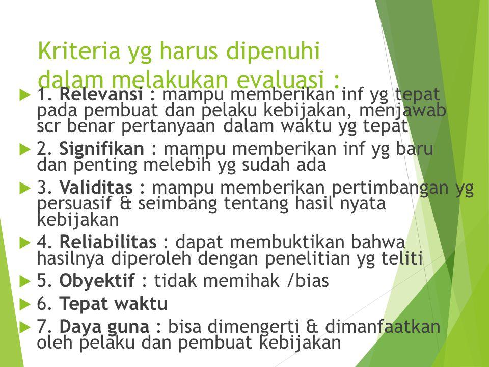 Kriteria yg harus dipenuhi dalam melakukan evaluasi :  1. Relevansi : mampu memberikan inf yg tepat pada pembuat dan pelaku kebijakan, menjawab scr b