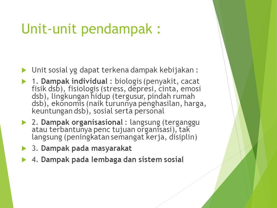 Unit-unit pendampak :  Unit sosial yg dapat terkena dampak kebijakan :  1. Dampak individual : biologis (penyakit, cacat fisik dsb), fisiologis (str