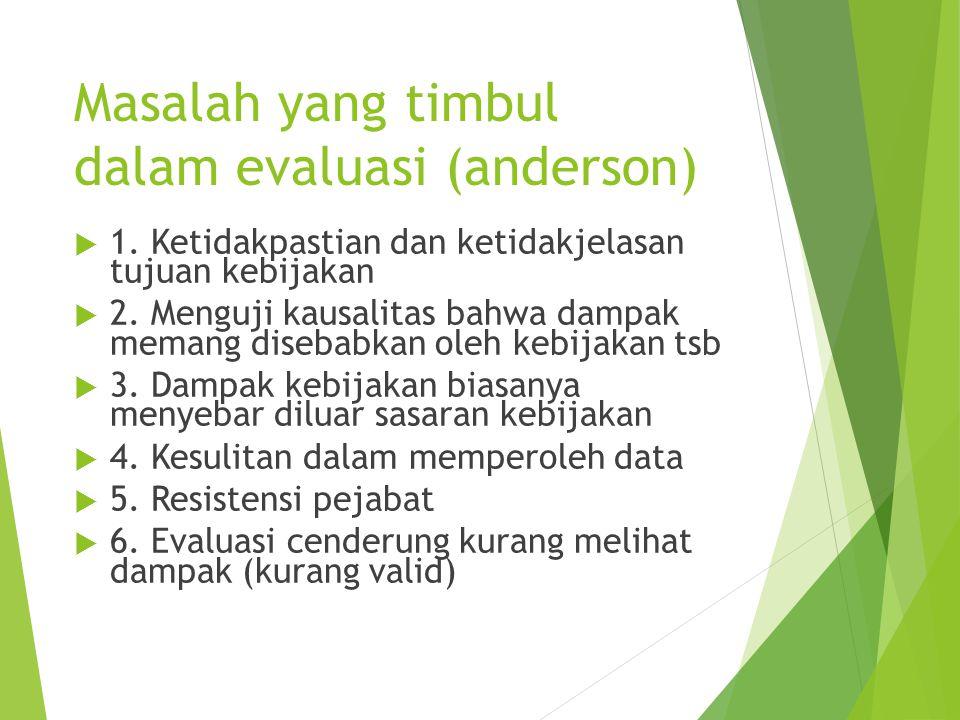 Masalah yang timbul dalam evaluasi (anderson)  1. Ketidakpastian dan ketidakjelasan tujuan kebijakan  2. Menguji kausalitas bahwa dampak memang dise