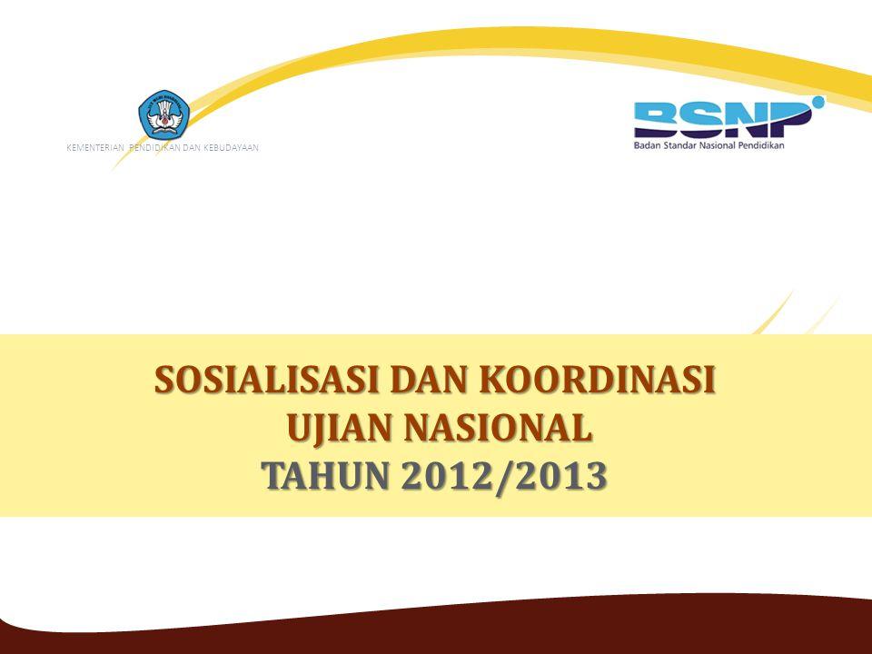 SOSIALISASI DAN KOORDINASI UJIAN NASIONAL UJIAN NASIONAL TAHUN 2012/2013 KEMENTERIAN PENDIDIKAN DAN KEBUDAYAAN