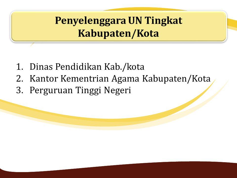 Penyelenggara UN Tingkat Kabupaten/Kota 1.Dinas Pendidikan Kab./kota 2.Kantor Kementrian Agama Kabupaten/Kota 3.Perguruan Tinggi Negeri