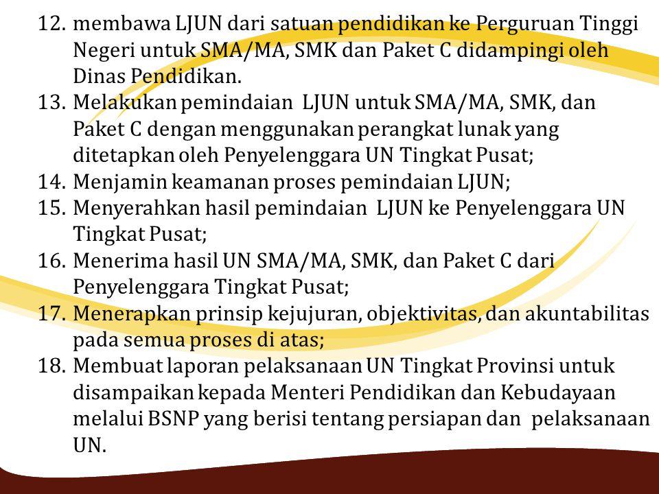 12.membawa LJUN dari satuan pendidikan ke Perguruan Tinggi Negeri untuk SMA/MA, SMK dan Paket C didampingi oleh Dinas Pendidikan. 13.Melakukan peminda