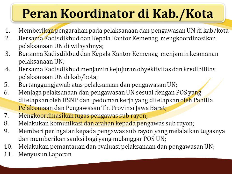 Peran Koordinator di Kab./Kota 1.Memberikan pengarahan pada pelaksanaan dan pengawasan UN di kab/kota 2.Bersama Kadisdikbud dan Kepala Kantor Kemenag
