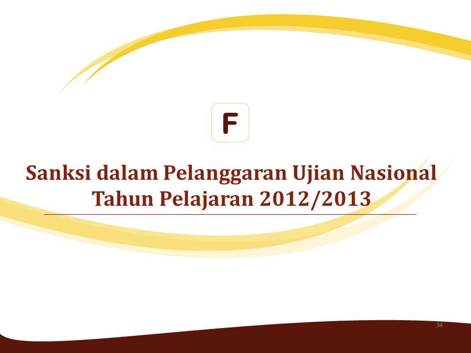 Sanksi dalam Pelanggaran Ujian Nasional Tahun Pelajaran 2012/2013 F 34