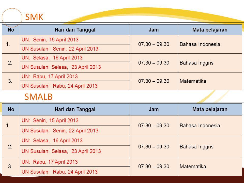 39 NoHari dan TanggalJamMata pelajaran 1. UN: Senin, 15 April 2013 07.30 – 09.30Bahasa Indonesia UN Susulan: Senin, 22 April 2013 2. UN: Selasa, 16 Ap