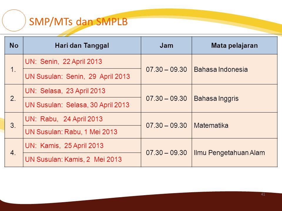 41 NoHari dan TanggalJamMata pelajaran 1. UN: Senin, 22 April 2013 07.30 – 09.30Bahasa Indonesia UN Susulan: Senin, 29 April 2013 2. UN: Selasa, 23 Ap