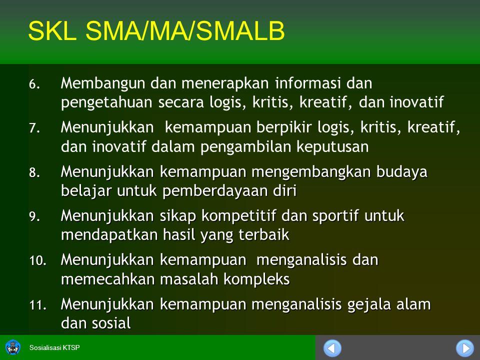 Sosialisasi KTSP SKL SMA/MA/SMALB 6. 6. Membangun dan menerapkan informasi dan pengetahuan secara logis, kritis, kreatif, dan inovatif 7. 7. Menunjukk