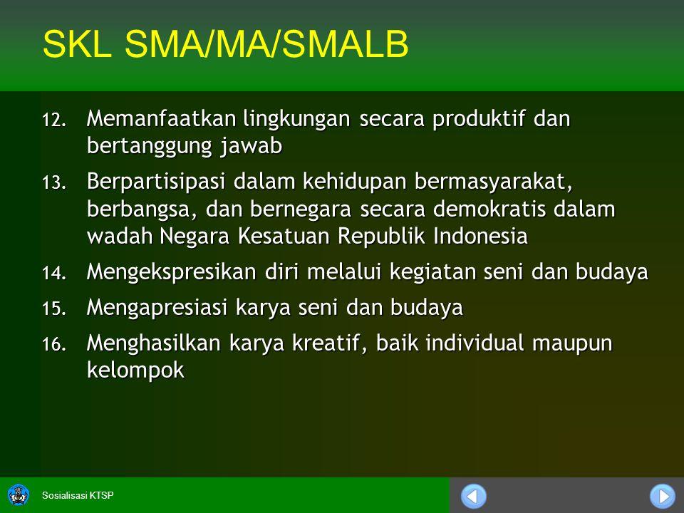 Sosialisasi KTSP SKL SMA/MA/SMALB 12. Memanfaatkan lingkungan secara produktif dan bertanggung jawab 13. Berpartisipasi dalam kehidupan bermasyarakat,