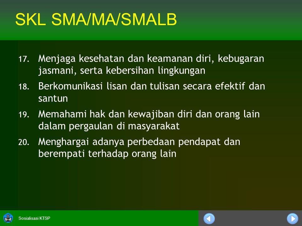 Sosialisasi KTSP SKL SMA/MA/SMALB 21.