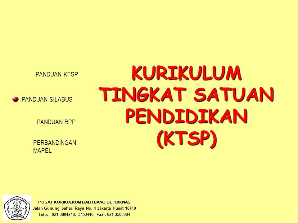 LANDASAN Undang-Undang Republik Indonesia Nomor 20 Tahun 2003 tentang Sistem Pendidikan Nasional Peraturan Pemerintah Republik Indonesia Nomor 19 Tahun 2005 tentang Standar Nasional Pendidikan Standar Isi Standar Kompetensi Lulusan PUSAT KURIKULUM BALITBANG DEPDIKNAS NextBack PANDUAN KTSP PANDUAN RPP PERBANDINGAN MAPEL PANDUAN SILABUS