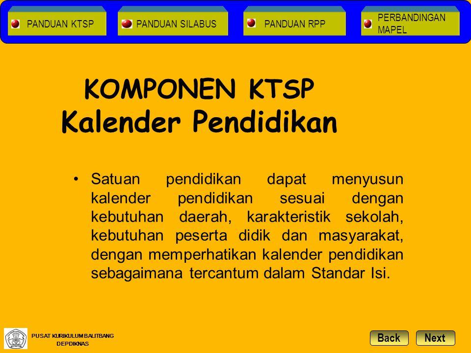 KOMPONEN KTSP Kalender Pendidikan Satuan pendidikan dapat menyusun kalender pendidikan sesuai dengan kebutuhan daerah, karakteristik sekolah, kebutuha