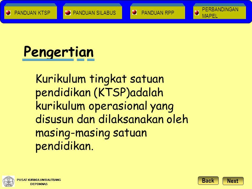 Setiap Kelompok / Satuan Pendidikan dan Komite Sekolah / Madrasah KTSP dikembangkan oleh : Pengembangan KTSP NextBack PUSAT KURIKULUM BALITBANG DEPDIKNAS PANDUAN RPPPANDUAN SILABUS PANDUAN KTSP PERBANDINGAN MAPEL