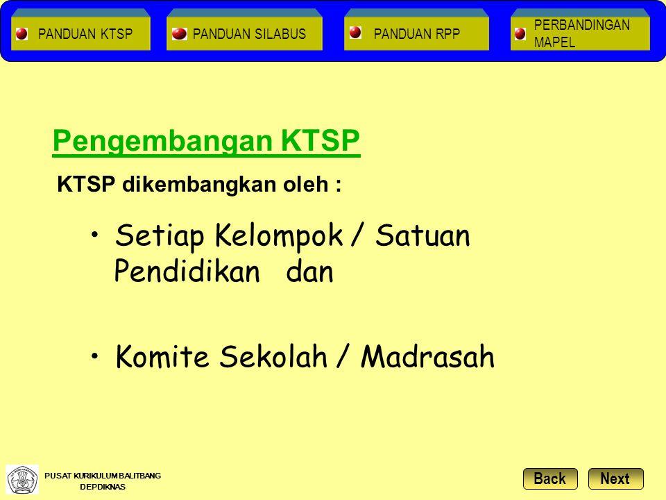 Setiap Kelompok / Satuan Pendidikan dan Komite Sekolah / Madrasah KTSP dikembangkan oleh : Pengembangan KTSP NextBack PUSAT KURIKULUM BALITBANG DEPDIK