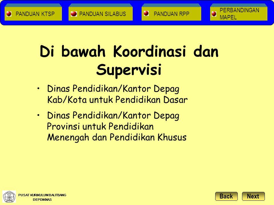 Di bawah Koordinasi dan Supervisi Dinas Pendidikan/Kantor Depag Kab/Kota untuk Pendidikan Dasar Dinas Pendidikan/Kantor Depag Provinsi untuk Pendidika