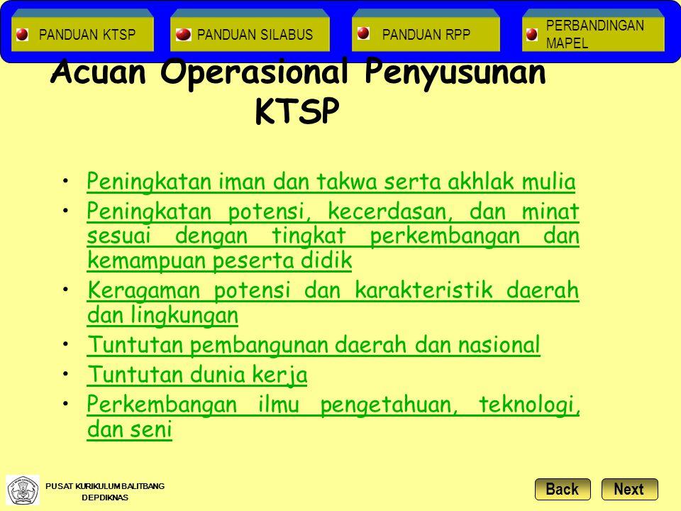 Acuan Operasional Penyusunan KTSP Peningkatan iman dan takwa serta akhlak muliaPeningkatan iman dan takwa serta akhlak mulia Peningkatan potensi, kece