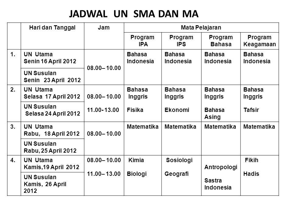 Hari dan TanggalJamMata Pelajaran Program IPA Program IPS Program Bahasa Program Keagamaan 1.UN Utama Senin 16 April 2012 08.00– 10.00 Bahasa Indonesi