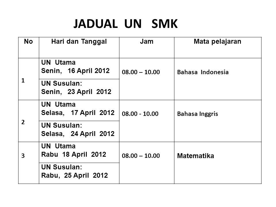 NoHari dan TanggalJamMata pelajaran 1 UN Utama Senin, 16 April 2012 08.00 – 10.00Bahasa Indonesia UN Susulan: Senin, 23 April 2012 2 UN Utama Selasa,